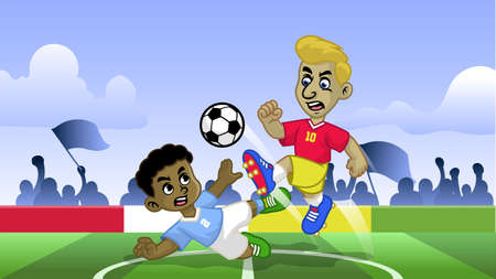 cartoon soccer kids playing soccer game in the field Çizim