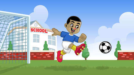 cartoon soccer player playing in the school field