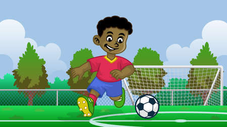 cartoon black boy soccer player in the field 向量圖像
