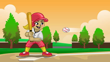 cartoon baseball girl player on the field 向量圖像