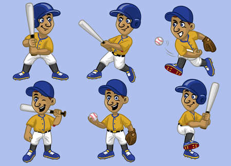 set collection cartoon boy baseball player 向量圖像