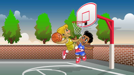 cartoon kids playing basketball on the court