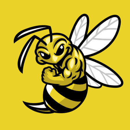 vector cartoon bee muscle sport mascot 向量圖像