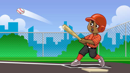 cartoon of black boy baseball player hitting the ball on the field
