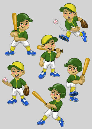 set cartoon of asian boy baseball player