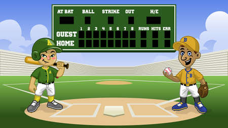 cartoon baseball games in the stadium with blank scoreboard