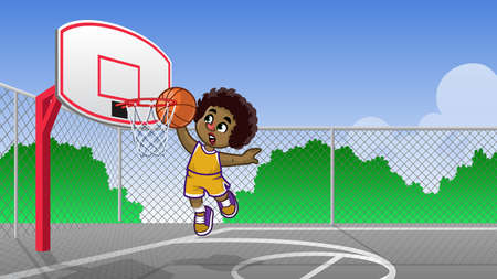 curly haired kids playing basketball on the basketball court