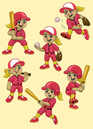 set cartoon of girl baseball player