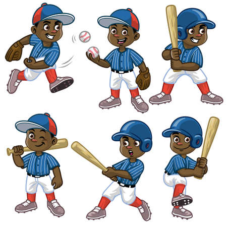 set cartoon of black boy baseball player