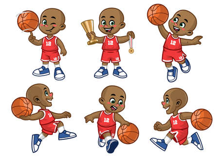 set of cartoon african little boy basketball player