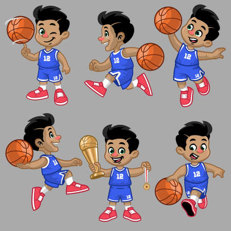 vector set of cartoon of little boy of basketball player