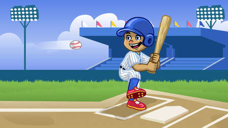 cartoon baseball player playing in the stadium 向量圖像