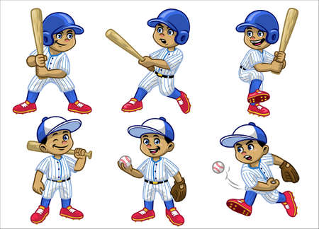 set cartoon of white boy baseball player