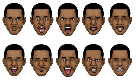 black man head in various face espression 矢量图像