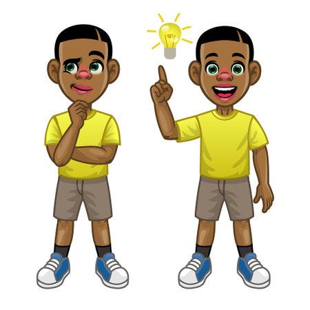 black kid cartoon thinking and find the idea