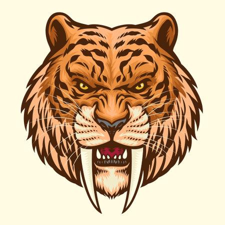 Sabretooth head mascot angry 矢量图像