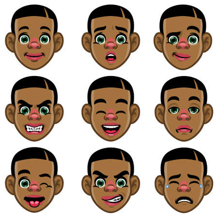 set of black boy head with varios expression