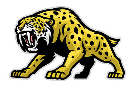 vector of Ferocious Sabretooth tiger Mascot