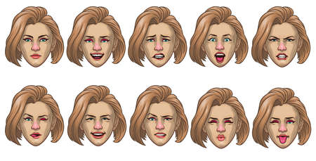 set of caucasian women head in various face expression Иллюстрация
