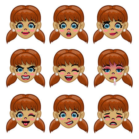 set of girl face with various face expression in cartoon Иллюстрация