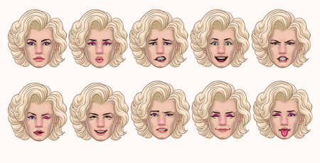 set of vintage women style in various face expression