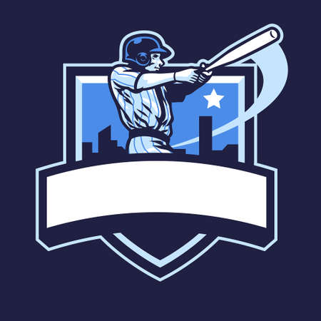 baseball player club badge design Иллюстрация