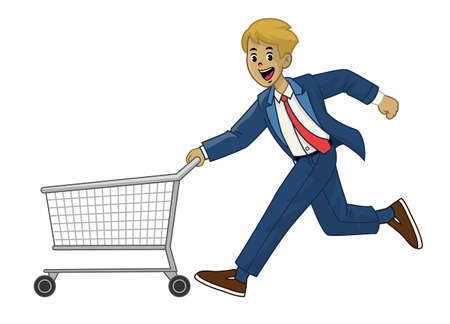 man in suit pushing the shopping cart Иллюстрация