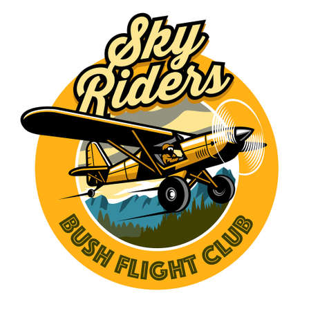 badge design of bush plane club Иллюстрация