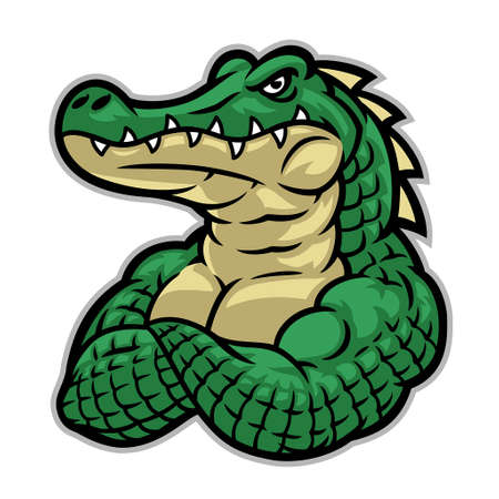 crocodile mascot with huge muscle body Иллюстрация
