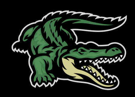 green crocodile roaring mascot