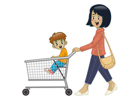 mother and children hold the shopping cart Иллюстрация