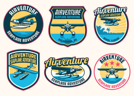 set of seaplane badge design collection