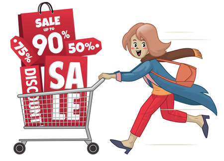 women with cart and sale promotion shopping
