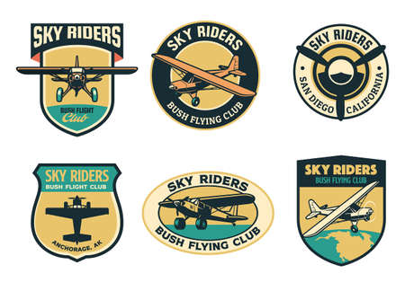 set of vintage bush flying badge design