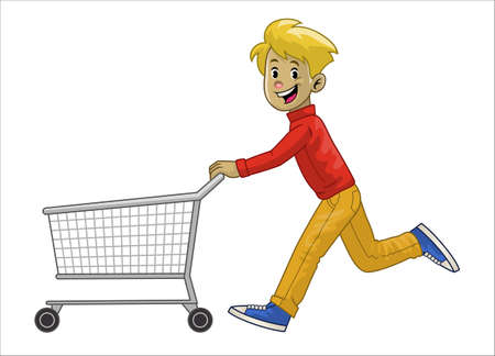 man running while pushing his shopping cart