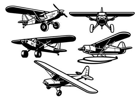 set of bush plane collection 向量圖像