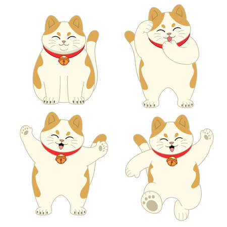 vector set of cute cartoon cat
