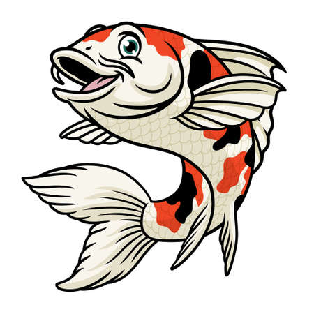 vector of cartoon character of koi fish