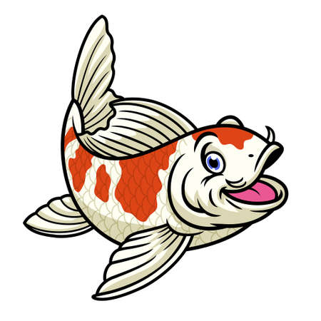 cartoon character of cute red and white koi fish