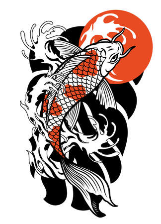vector of vintage tattoo design of koi fish 向量圖像