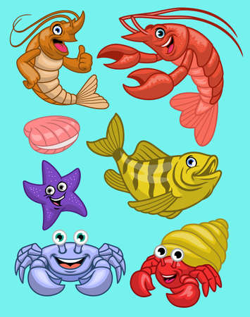vector set of marine animal in cartoon style