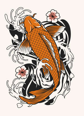 vector of koi fish tattoo design