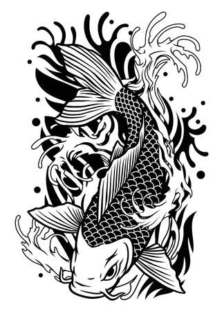 vector of koi fish tattoo design in classic japan style 向量圖像