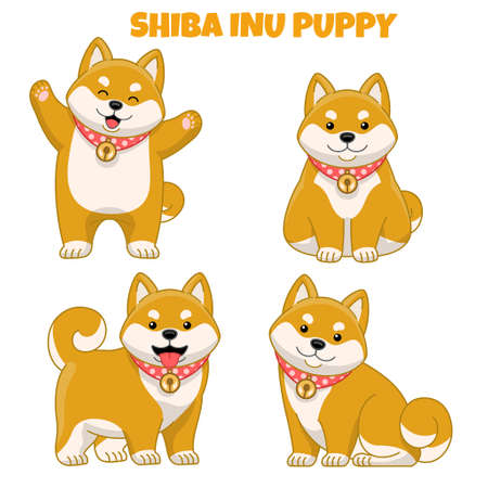 vector set of cute shiba inu puppy dog