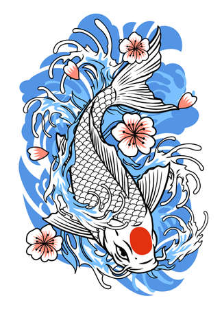 vector of tattoo design of koi fish in vintage style