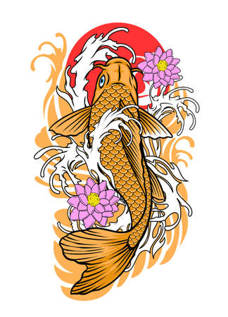 vector of koi fish tattoo design in vintage look