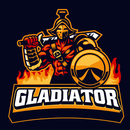 gladiator mascot hold the shield Иллюстрация