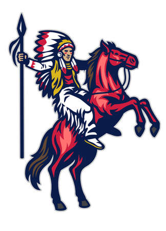 vector of american indian warrior riding the standing horse Иллюстрация