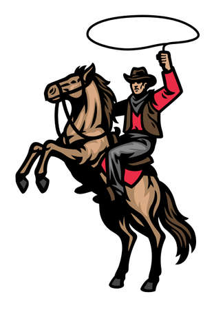 vector of cowboy mascot riding the standing horse