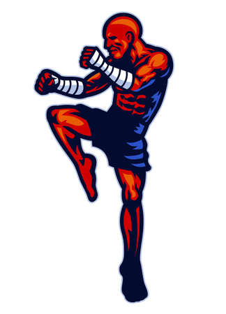 vector of muay thai fighter mascot pose